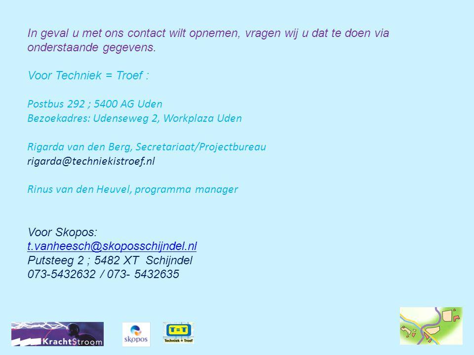 In geval u met ons contact wilt opnemen, vragen wij u dat te doen via onderstaande gegevens. Voor Techniek = Troef : Postbus 292 ; 5400 AG Uden Bezoek