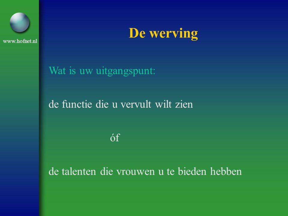 www.hofnet.nl De werving Wat is uw uitgangspunt: de functie die u vervult wilt zien óf de talenten die vrouwen u te bieden hebben