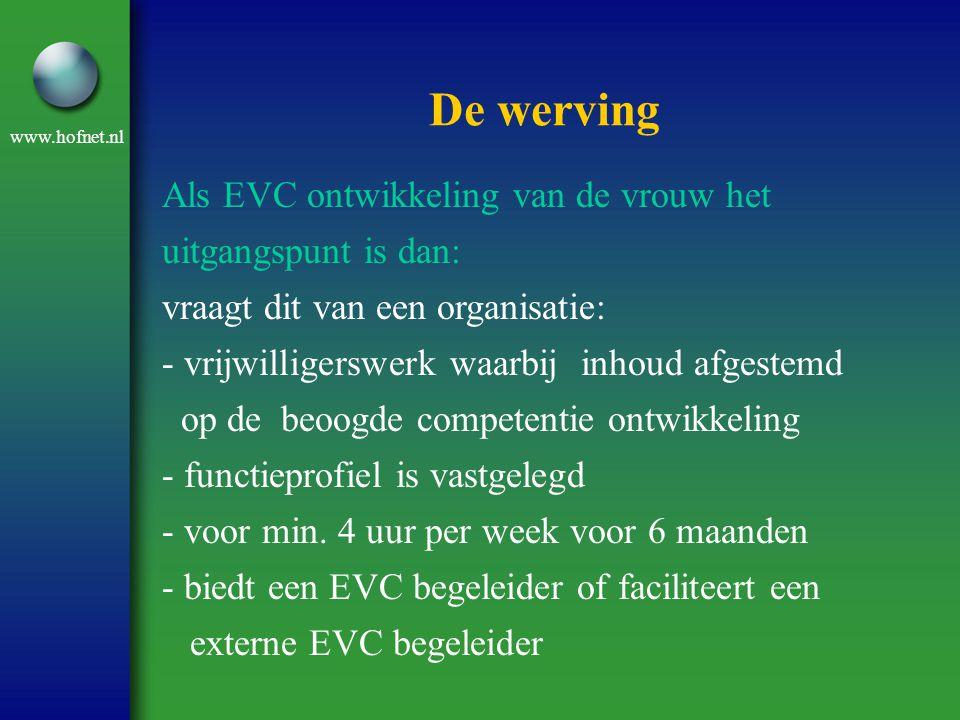 www.hofnet.nl De werving Als EVC ontwikkeling van de vrouw het uitgangspunt is dan: vraagt dit van een organisatie: - vrijwilligerswerk waarbij inhoud