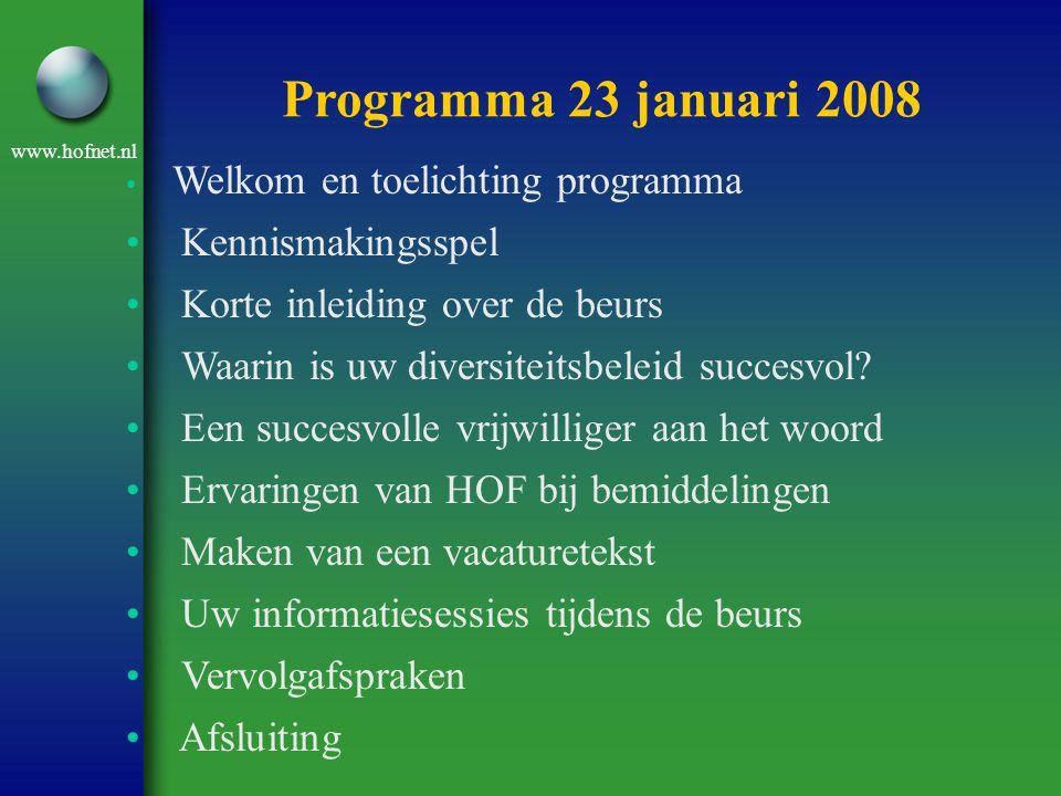 www.hofnet.nl • Welkom en toelichting programma • Kennismakingsspel • Korte inleiding over de beurs • Waarin is uw diversiteitsbeleid succesvol? • Een