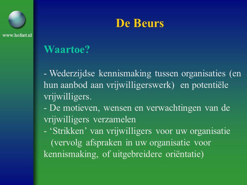 www.hofnet.nl De Beurs Waartoe? - Wederzijdse kennismaking tussen organisaties (en hun aanbod aan vrijwilligerswerk) en potentiële vrijwilligers. - De
