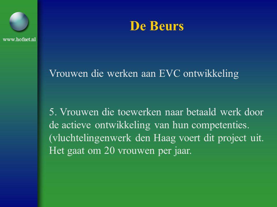 www.hofnet.nl De Beurs Vrouwen die werken aan EVC ontwikkeling 5. Vrouwen die toewerken naar betaald werk door de actieve ontwikkeling van hun compete