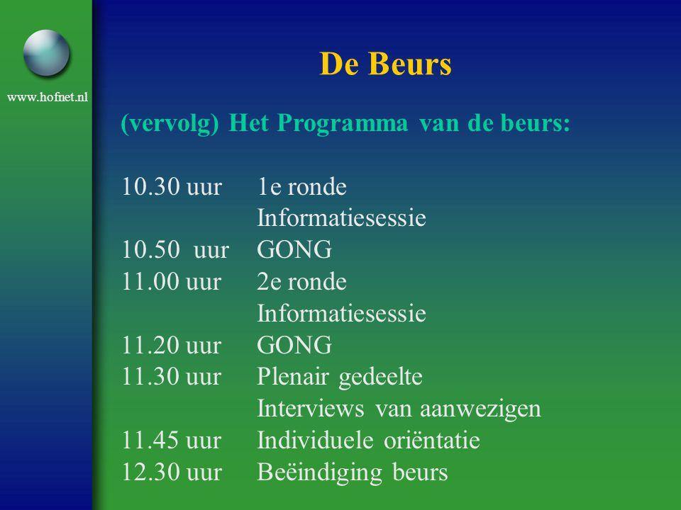 www.hofnet.nl De Beurs (vervolg) Het Programma van de beurs: 10.30 uur1e ronde Informatiesessie 10.50 uurGONG 11.00 uur2e ronde Informatiesessie 11.20 uurGONG 11.30 uurPlenair gedeelte Interviews van aanwezigen 11.45 uurIndividuele oriëntatie 12.30 uurBeëindiging beurs