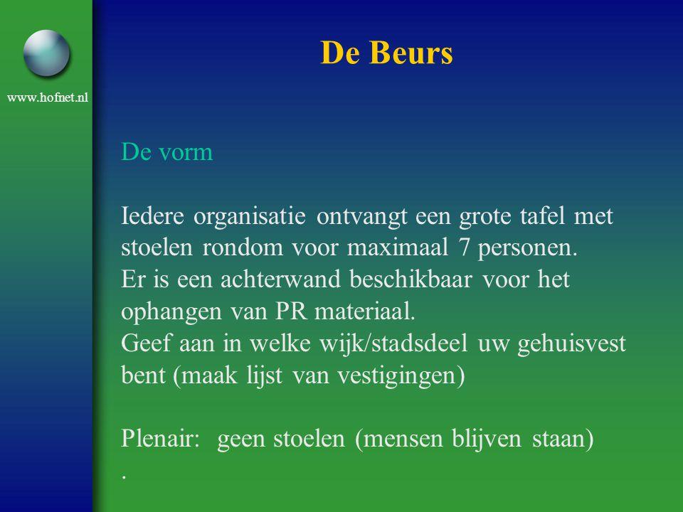 www.hofnet.nl De Beurs De vorm Iedere organisatie ontvangt een grote tafel met stoelen rondom voor maximaal 7 personen. Er is een achterwand beschikba