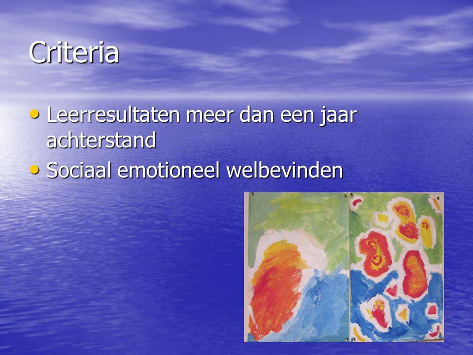 Criteria • Leerresultaten meer dan een jaar achterstand • Sociaal emotioneel welbevinden