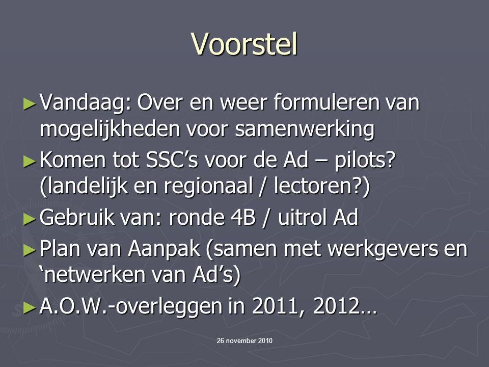 26 november 2010 Voorstel ► Vandaag: Over en weer formuleren van mogelijkheden voor samenwerking ► Komen tot SSC's voor de Ad – pilots.