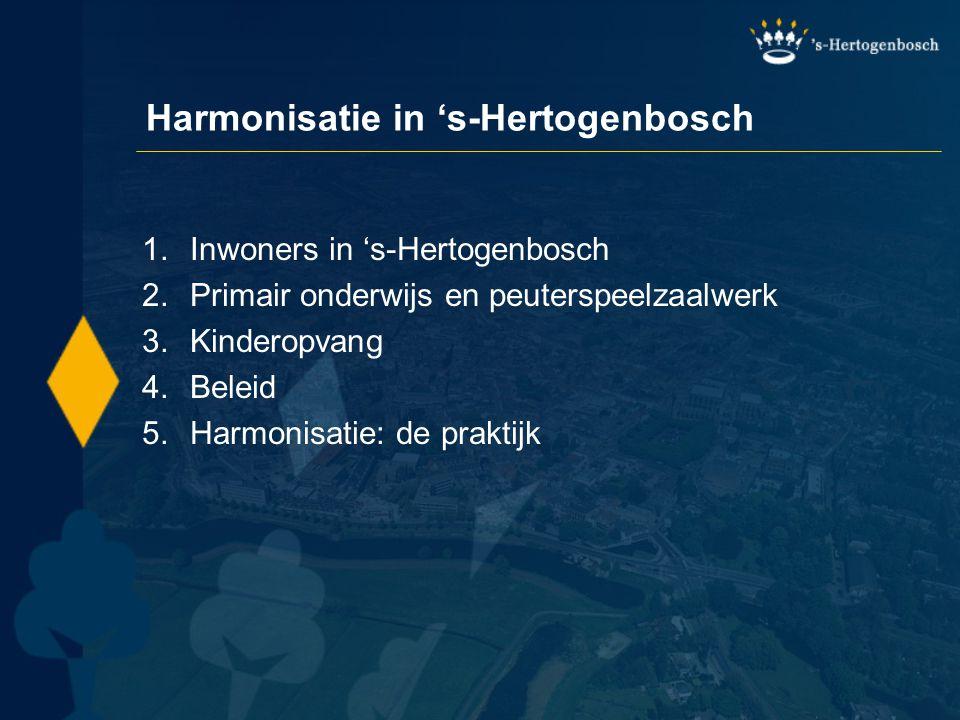 Harmonisatie in 's-Hertogenbosch 1.Inwoners in 's-Hertogenbosch 2.Primair onderwijs en peuterspeelzaalwerk 3.Kinderopvang 4.Beleid 5.Harmonisatie: de