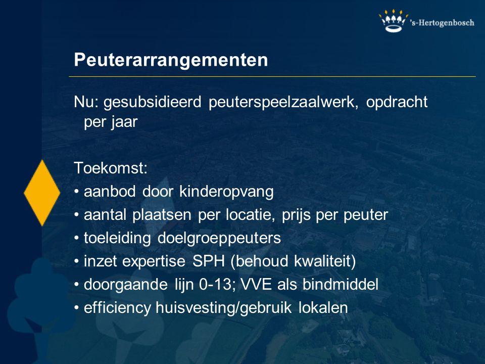 Peuterarrangementen Nu: gesubsidieerd peuterspeelzaalwerk, opdracht per jaar Toekomst: •aanbod door kinderopvang •aantal plaatsen per locatie, prijs p