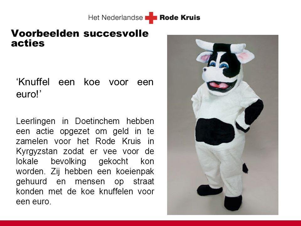 Voorbeelden succesvolle acties 'Knuffel een koe voor een euro!' Leerlingen in Doetinchem hebben een actie opgezet om geld in te zamelen voor het Rode Kruis in Kyrgyzstan zodat er vee voor de lokale bevolking gekocht kon worden.