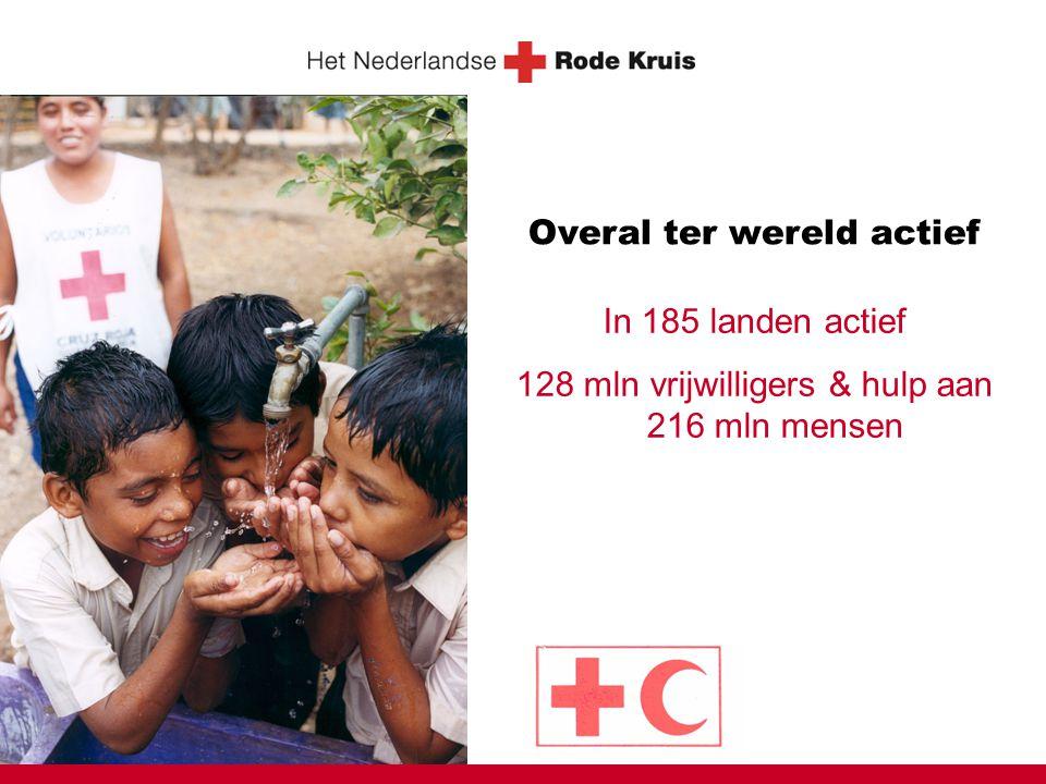 Overal ter wereld actief In 185 landen actief 128 mln vrijwilligers & hulp aan 216 mln mensen