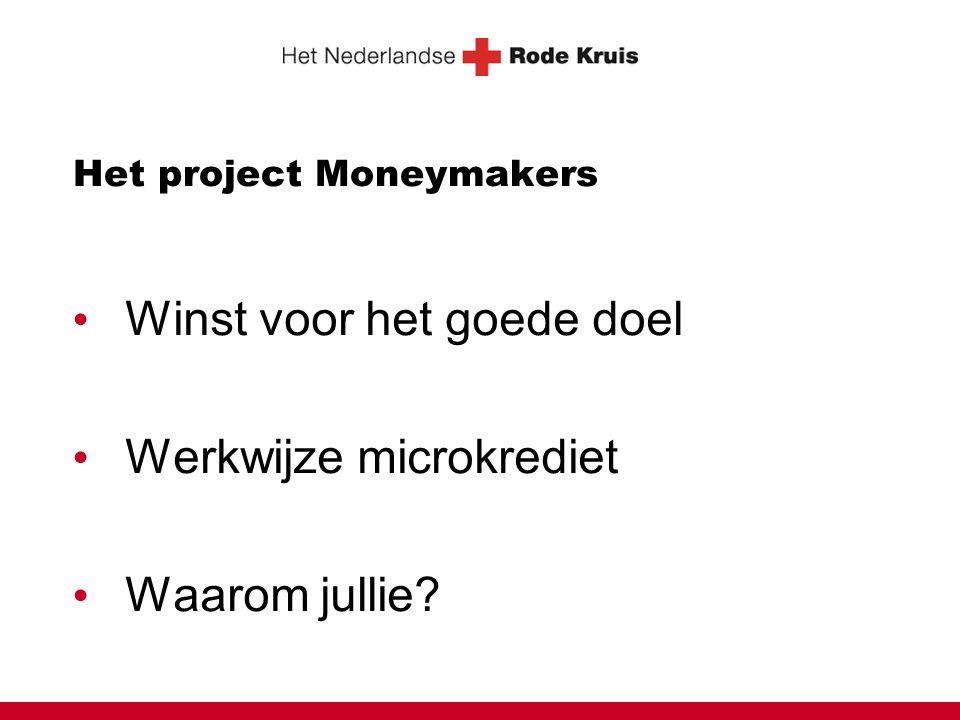 Het project Moneymakers • Winst voor het goede doel • Werkwijze microkrediet • Waarom jullie?