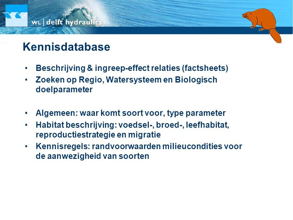 Kennisdatabase •Beschrijving & ingreep-effect relaties (factsheets) •Zoeken op Regio, Watersysteem en Biologisch doelparameter •Algemeen: waar komt so