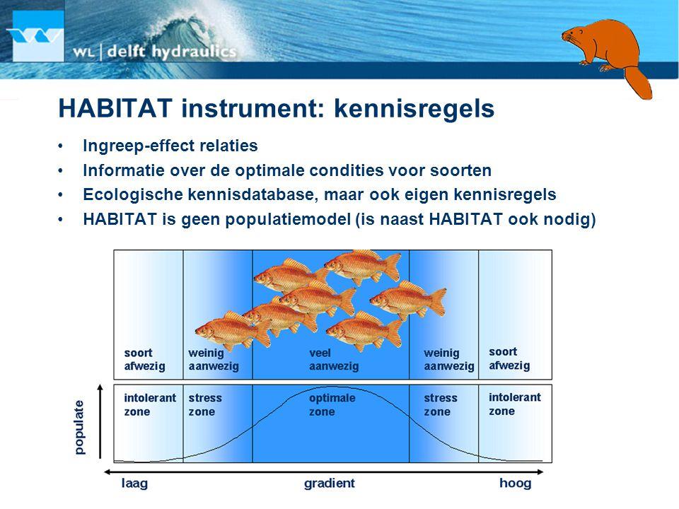 HABITAT instrument: kennisregels •Ingreep-effect relaties •Informatie over de optimale condities voor soorten •Ecologische kennisdatabase, maar ook ei