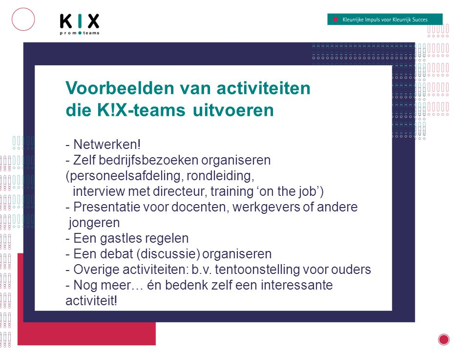 Trainingen - Training on-the-job - Communicatie/presentatie - Empowerment - Netwerken - Vergaderen Budget Per team is er geld om de activiteiten uit te voeren.