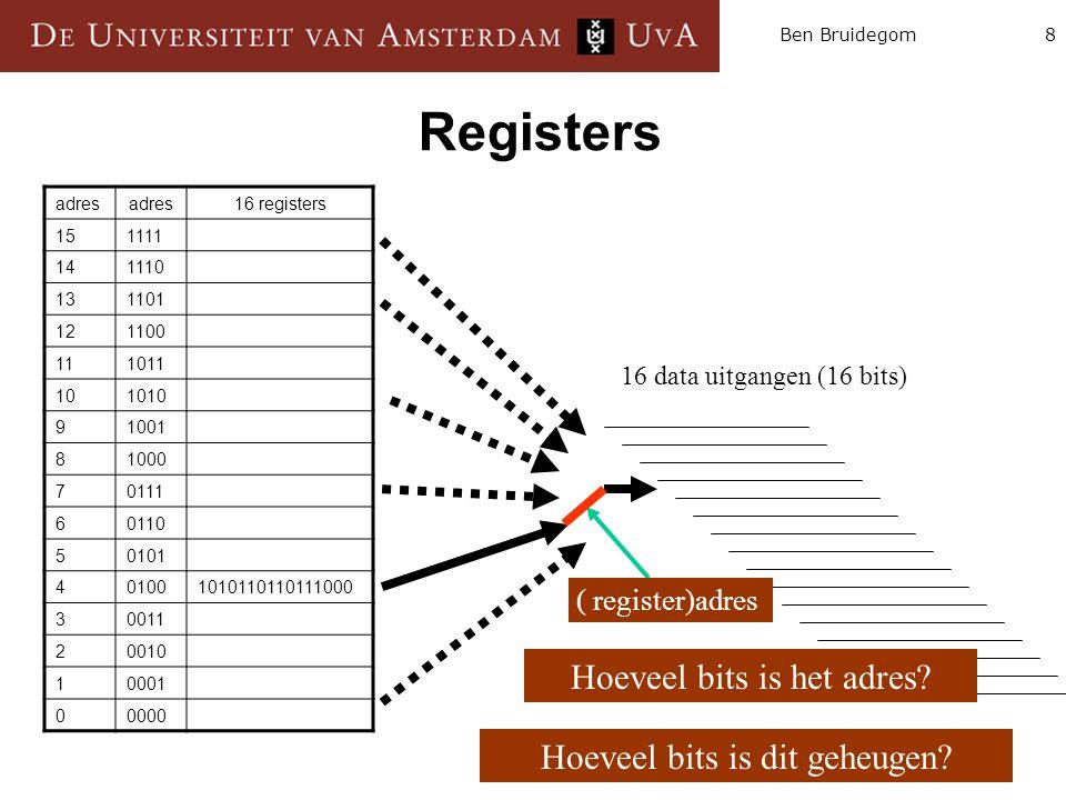 8Ben Bruidegom Registers 16 data uitgangen (16 bits) Hoeveel bits is dit geheugen? ( register)adres Hoeveel bits is het adres? adres 16 registers 1511