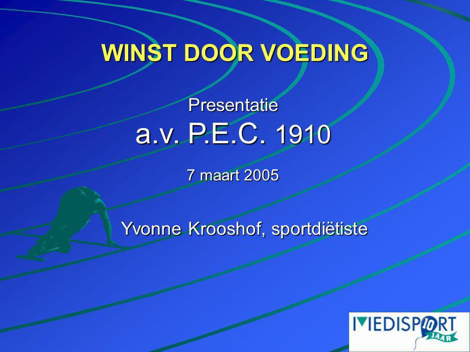 WINST DOOR VOEDING Yvonne Krooshof, sportdiëtiste Presentatie a.v. P.E.C. 1910 7 maart 2005