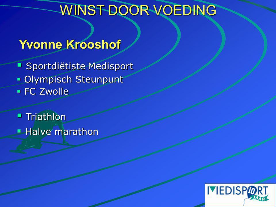 WINST DOOR VOEDING Yvonne Krooshof  Sportdiëtiste Medisport  Olympisch Steunpunt  FC Zwolle  Triathlon  Halve marathon