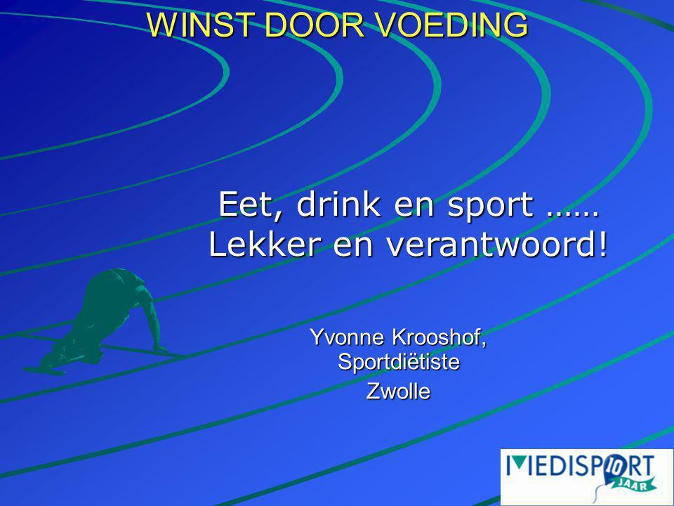 WINST DOOR VOEDING Yvonne Krooshof, Sportdiëtiste Zwolle Eet, drink en sport …… Lekker en verantwoord!