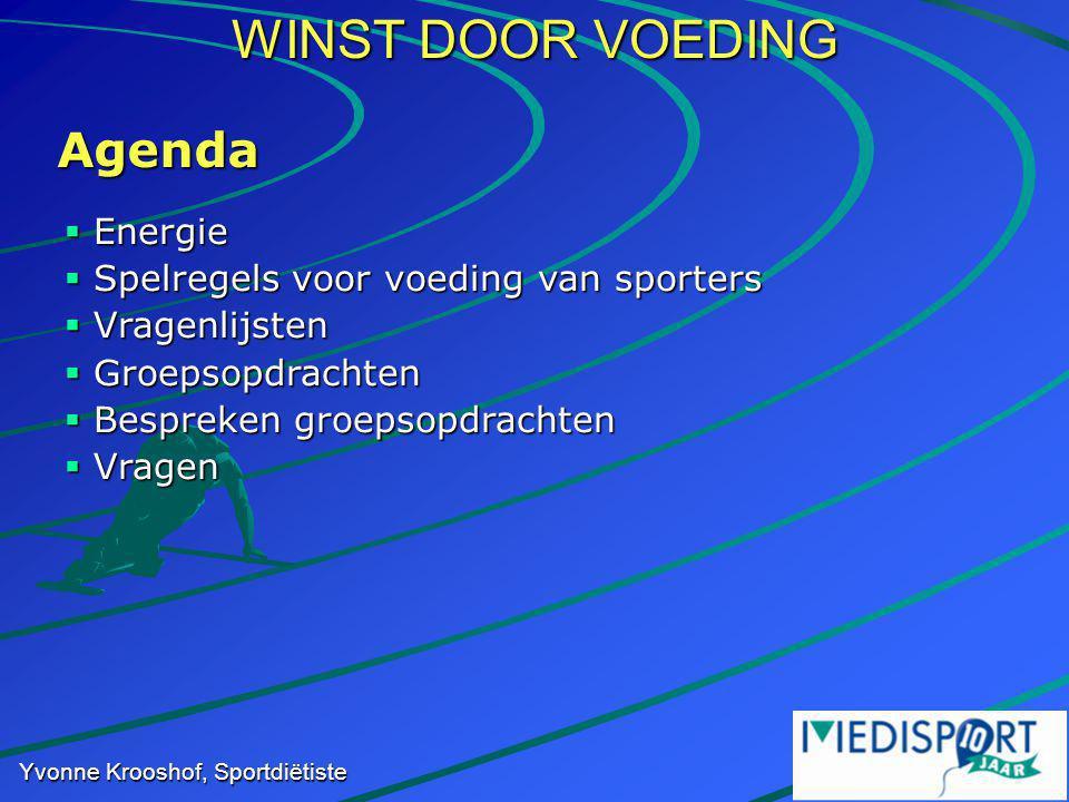WINST DOOR VOEDING Yvonne Krooshof, Sportdiëtiste  Energie  Spelregels voor voeding van sporters  Vragenlijsten  Groepsopdrachten  Bespreken groepsopdrachten  Vragen Agenda