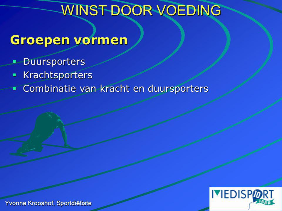 WINST DOOR VOEDING Yvonne Krooshof, Sportdiëtiste Groepen vormen  Duursporters  Krachtsporters  Combinatie van kracht en duursporters