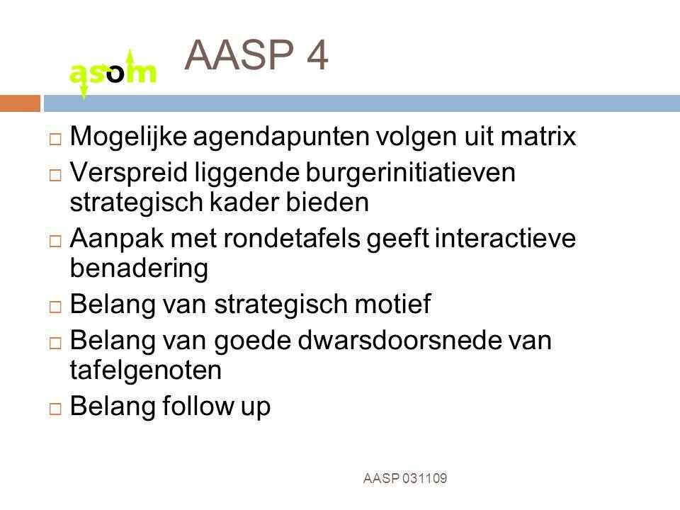11 AASP 031109 AASP 4  Mogelijke agendapunten volgen uit matrix  Verspreid liggende burgerinitiatieven strategisch kader bieden  Aanpak met rondetafels geeft interactieve benadering  Belang van strategisch motief  Belang van goede dwarsdoorsnede van tafelgenoten  Belang follow up