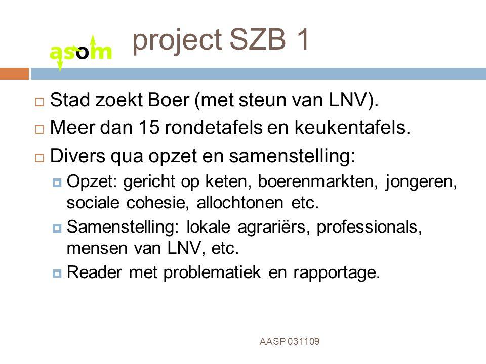 3 AASP 031109 project SZB 1  Stad zoekt Boer (met steun van LNV).  Meer dan 15 rondetafels en keukentafels.  Divers qua opzet en samenstelling:  O