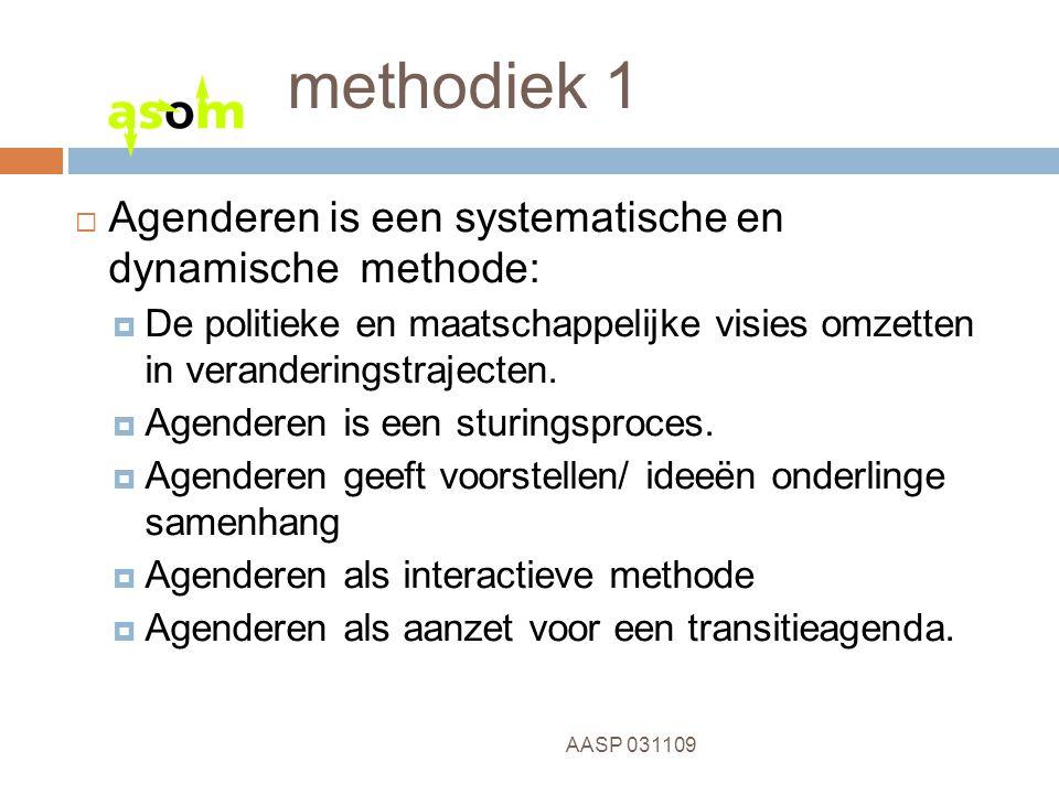 6 AASP 031109 methodiek 1  Agenderen is een systematische en dynamische methode:  De politieke en maatschappelijke visies omzetten in veranderingstrajecten.