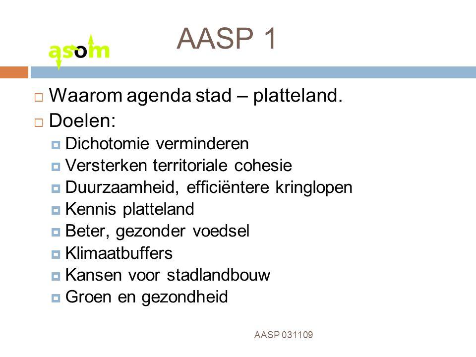 8 AASP 031109 AASP 1  Waarom agenda stad – platteland.  Doelen:  Dichotomie verminderen  Versterken territoriale cohesie  Duurzaamheid, efficiënt