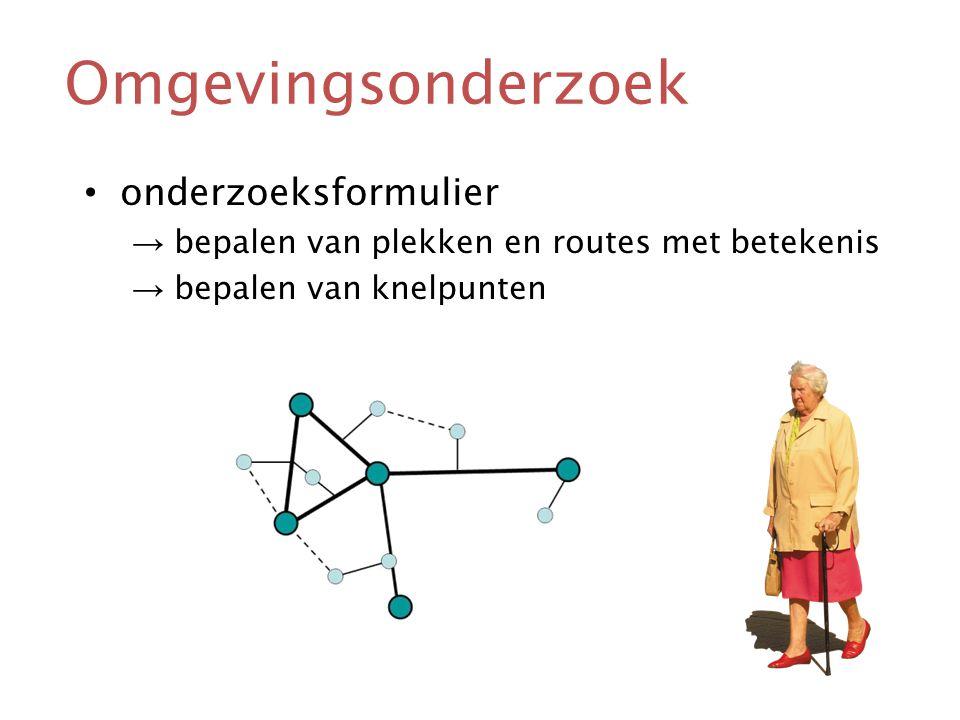 Omgevingsonderzoek • onderzoeksformulier → bepalen van plekken en routes met betekenis → bepalen van knelpunten