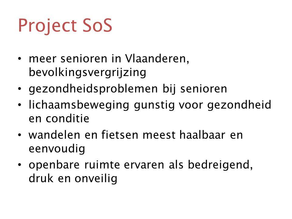 Project SoS • meer senioren in Vlaanderen, bevolkingsvergrijzing • gezondheidsproblemen bij senioren • lichaamsbeweging gunstig voor gezondheid en conditie • wandelen en fietsen meest haalbaar en eenvoudig • openbare ruimte ervaren als bedreigend, druk en onveilig