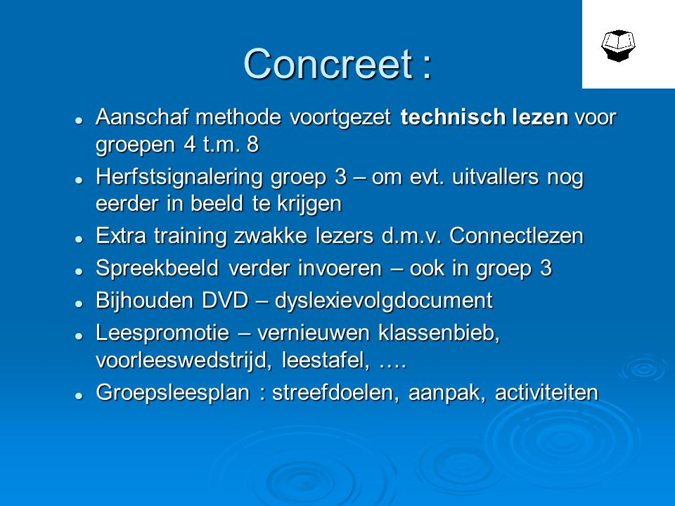 Concreet :  Aanschaf methode voortgezet technisch lezen voor groepen 4 t.m.