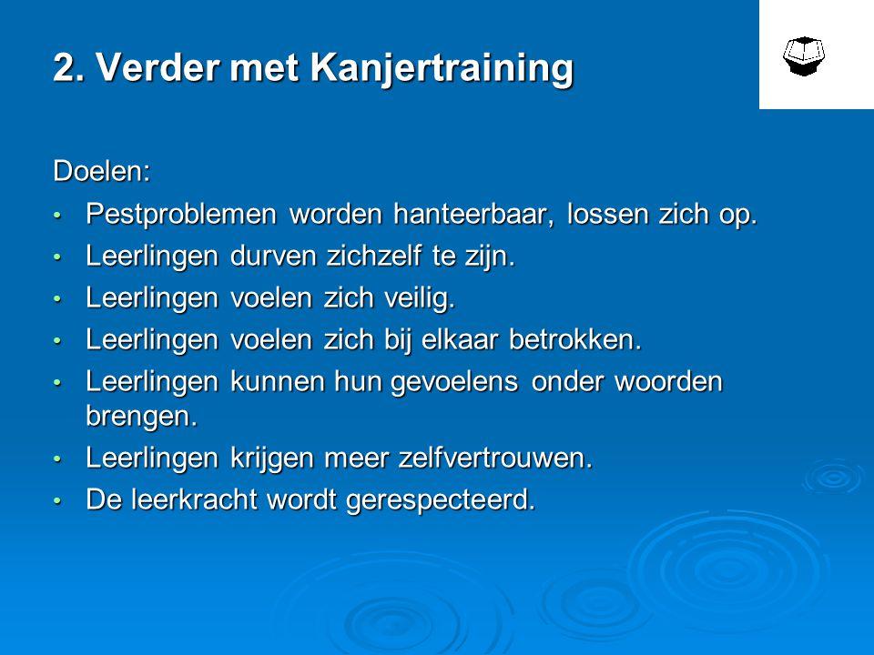 2.Verder met Kanjertraining Doelen: • Pestproblemen worden hanteerbaar, lossen zich op.