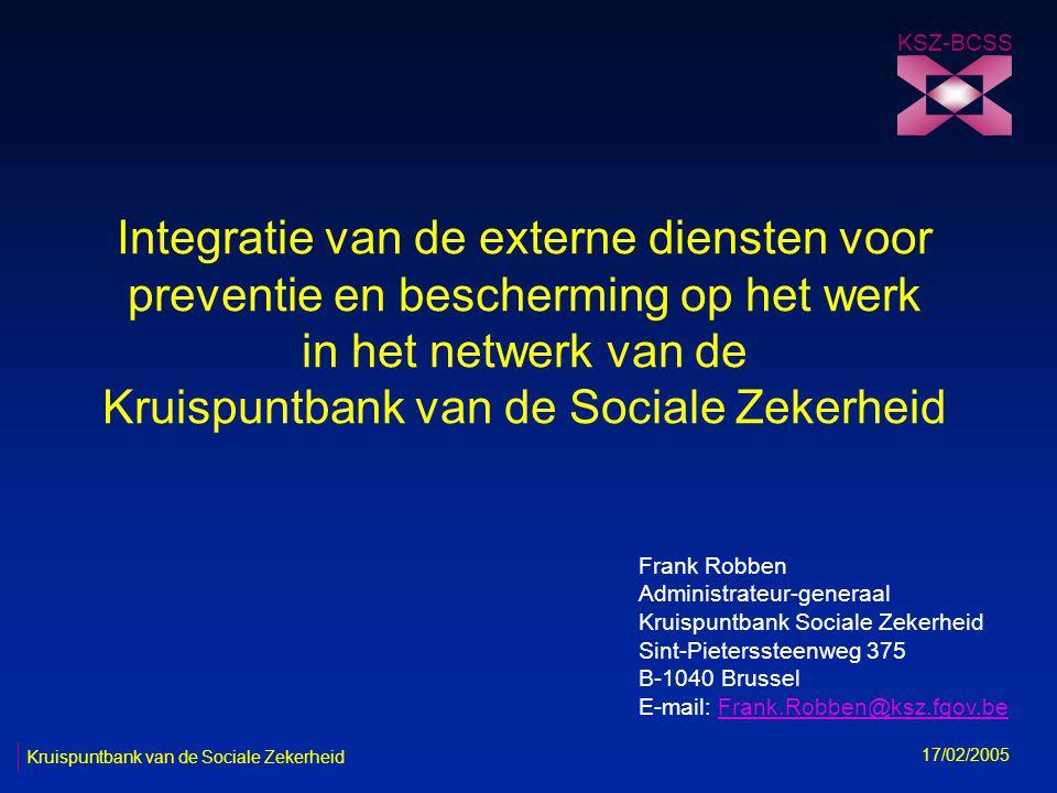 12 KSZ-BCSS 17/02/2005 Kruispuntbank van de Sociale Zekerheid Onderzoek Ernstig arbeidsongeval (E AO) n ongeval op de arbeidsplaats n ofwel met de dood voor gevolg n ofwel afwijkende gebeurtenis opgenomen in bijlage 1 of betrokken voorwerp opgenomen in bijlage 2 -met een blijvend letsel -met een tijdelijk letsel opgenomen in bijlage 3 elk E AO moet onderzocht worden door de bevoegde (interne of externe) DPB.