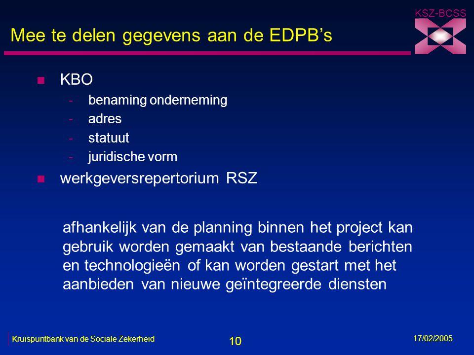 10 KSZ-BCSS 17/02/2005 Kruispuntbank van de Sociale Zekerheid Mee te delen gegevens aan de EDPB's n KBO -benaming onderneming -adres -statuut -juridis