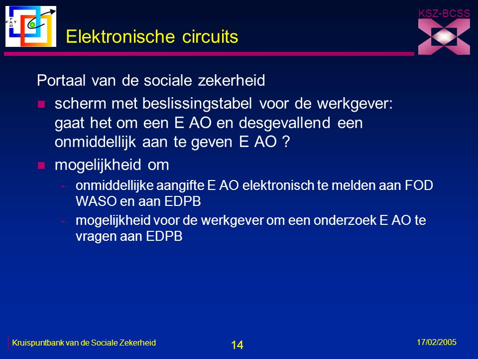 14 KSZ-BCSS 17/02/2005 Kruispuntbank van de Sociale Zekerheid Elektronische circuits Portaal van de sociale zekerheid n scherm met beslissingstabel vo