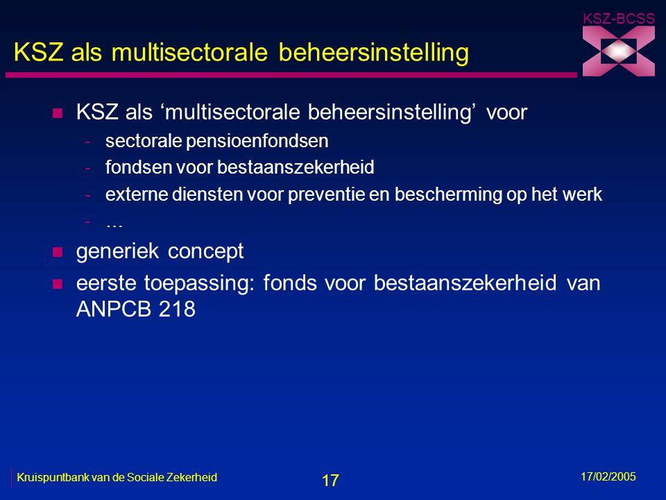17 KSZ-BCSS 17/02/2005 Kruispuntbank van de Sociale Zekerheid KSZ als multisectorale beheersinstelling n KSZ als 'multisectorale beheersinstelling' vo