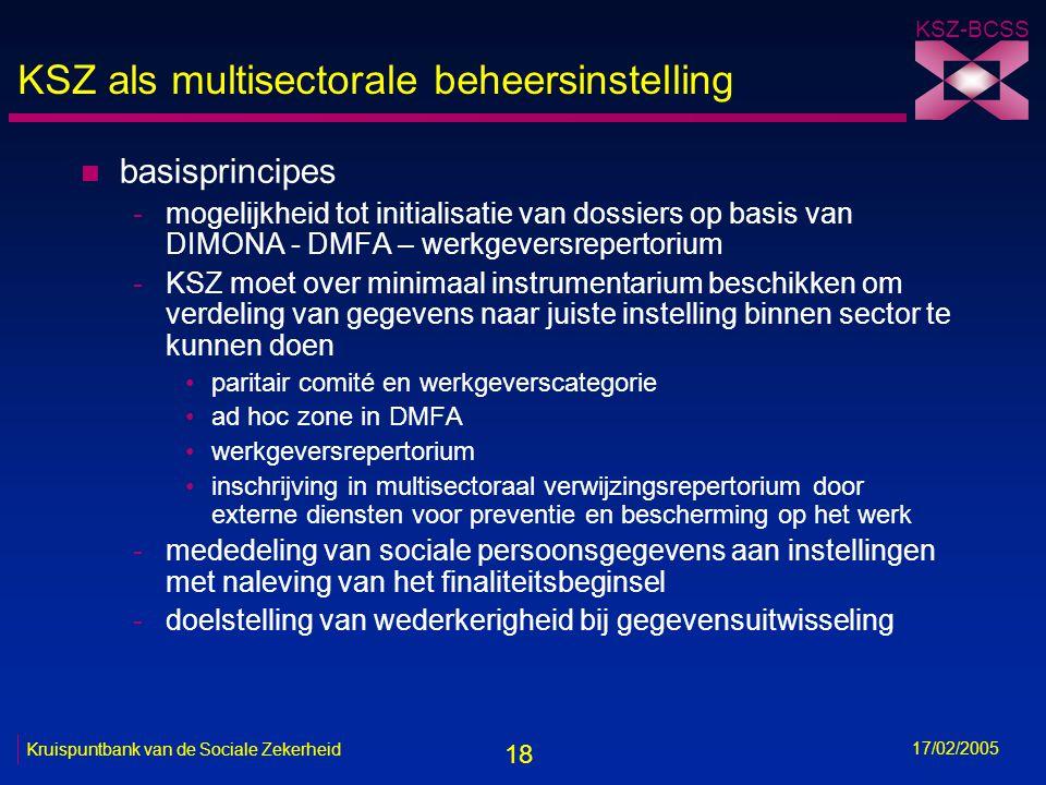 18 KSZ-BCSS 17/02/2005 Kruispuntbank van de Sociale Zekerheid KSZ als multisectorale beheersinstelling n basisprincipes -mogelijkheid tot initialisati