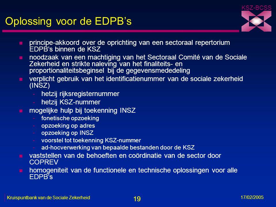 19 KSZ-BCSS 17/02/2005 Kruispuntbank van de Sociale Zekerheid Oplossing voor de EDPB's n principe-akkoord over de oprichting van een sectoraal reperto