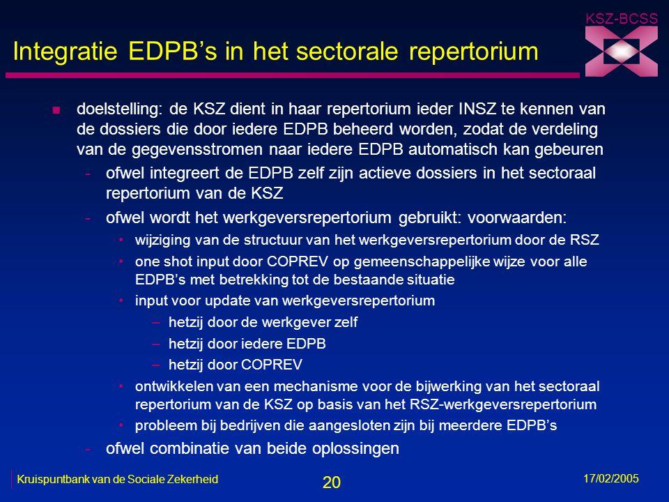 20 KSZ-BCSS 17/02/2005 Kruispuntbank van de Sociale Zekerheid Integratie EDPB's in het sectorale repertorium n doelstelling: de KSZ dient in haar repe