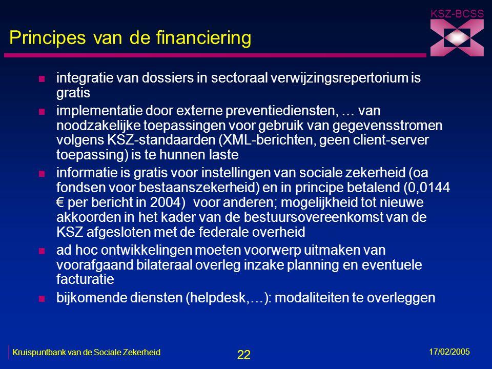 22 KSZ-BCSS 17/02/2005 Kruispuntbank van de Sociale Zekerheid Principes van de financiering n integratie van dossiers in sectoraal verwijzingsrepertor
