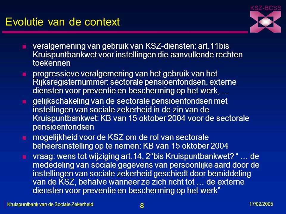 19 KSZ-BCSS 17/02/2005 Kruispuntbank van de Sociale Zekerheid Oplossing voor de EDPB's n principe-akkoord over de oprichting van een sectoraal repertorium EDPB's binnen de KSZ n noodzaak van een machtiging van het Sectoraal Comité van de Sociale Zekerheid en strikte naleving van het finaliteits- en proportionaliteitsbeginsel bij de gegevensmededeling n verplicht gebruik van het identificatienummer van de sociale zekerheid (INSZ) -hetzij rijksregisternummer -hetzij KSZ-nummer n mogelijke hulp bij toekenning INSZ -fonetische opzoeking -opzoeking op adres -opzoeking op INSZ -voorstel tot toekenning KSZ-nummer -ad-hocverwerking van bepaalde bestanden door de KSZ n vaststellen van de behoeften en coördinatie van de sector door COPREV n homogeniteit van de functionele en technische oplossingen voor alle EDPB's