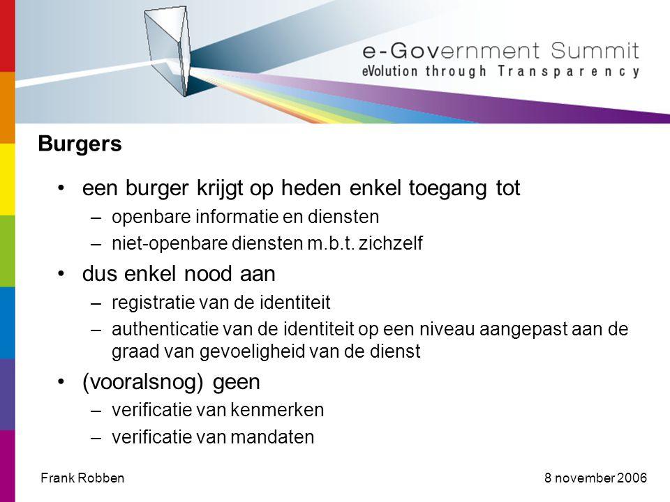8 november 2006Frank Robben Burgers •een burger krijgt op heden enkel toegang tot –openbare informatie en diensten –niet-openbare diensten m.b.t.