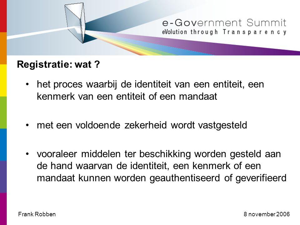 8 november 2006Frank Robben Registratie: wat .