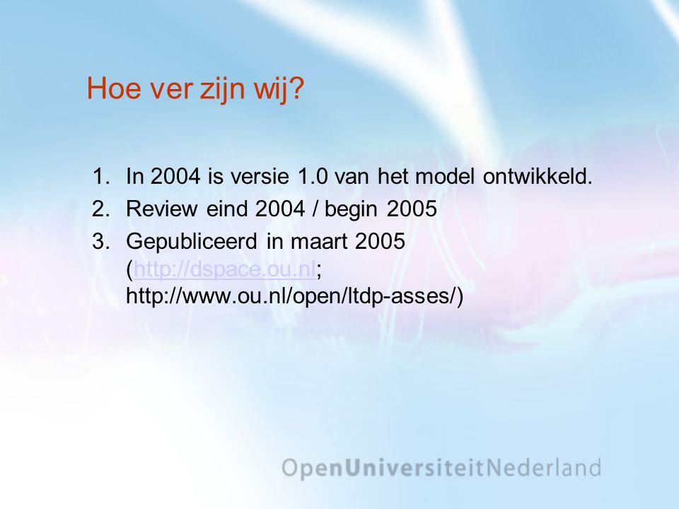 Hoe ver zijn wij? 1.In 2004 is versie 1.0 van het model ontwikkeld. 2.Review eind 2004 / begin 2005 3.Gepubliceerd in maart 2005 (http://dspace.ou.nl;