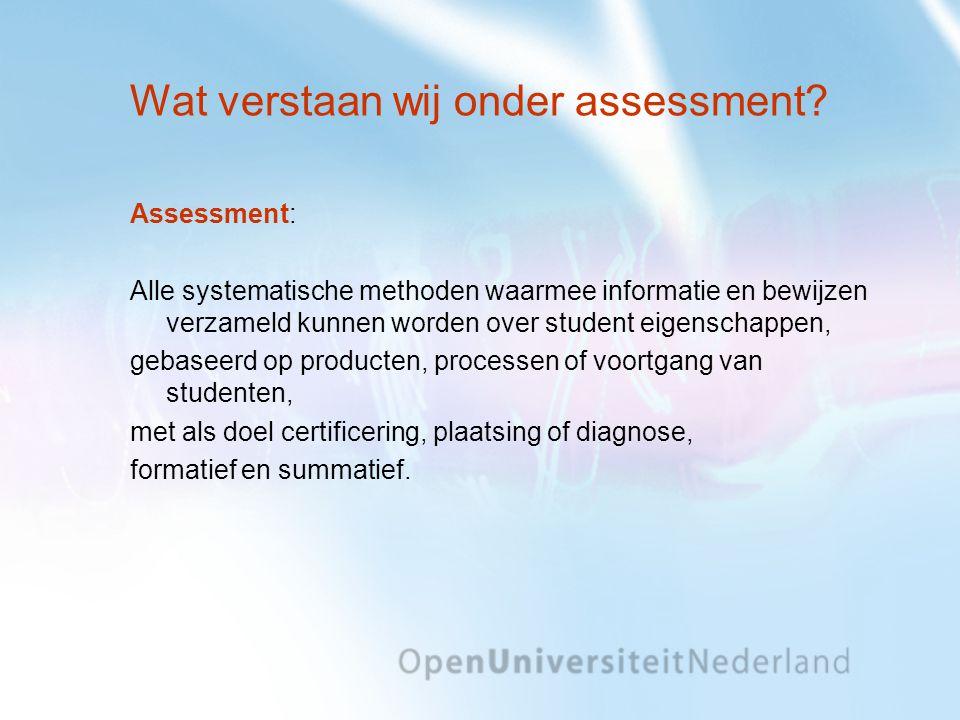 Wat verstaan wij onder assessment? Assessment: Alle systematische methoden waarmee informatie en bewijzen verzameld kunnen worden over student eigensc