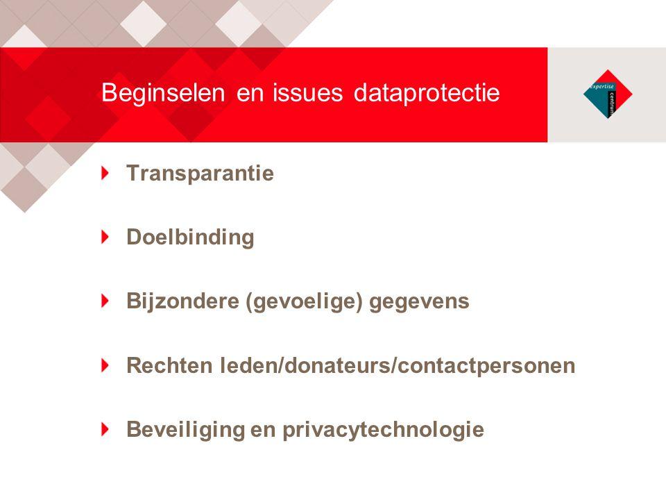 Beginselen en issues dataprotectie Transparantie Doelbinding Bijzondere (gevoelige) gegevens Rechten leden/donateurs/contactpersonen Beveiliging en pr