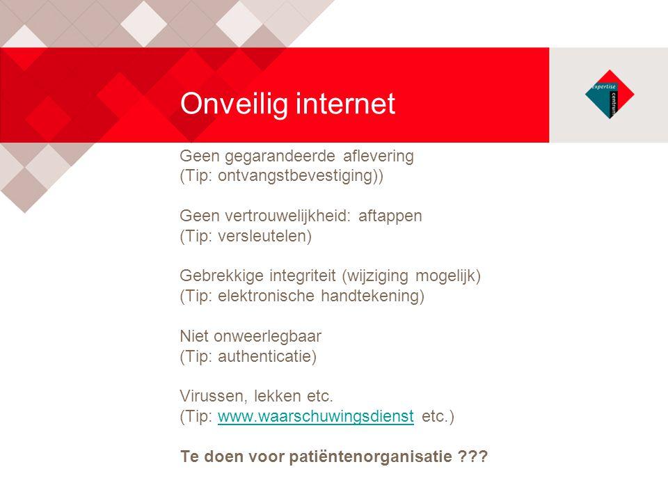 Onveilig internet Geen gegarandeerde aflevering (Tip: ontvangstbevestiging)) Geen vertrouwelijkheid: aftappen (Tip: versleutelen) Gebrekkige integrite
