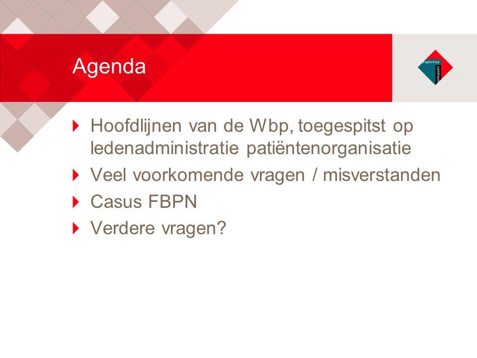 Agenda Hoofdlijnen van de Wbp, toegespitst op ledenadministratie patiëntenorganisatie Veel voorkomende vragen / misverstanden Casus FBPN Verdere vrage