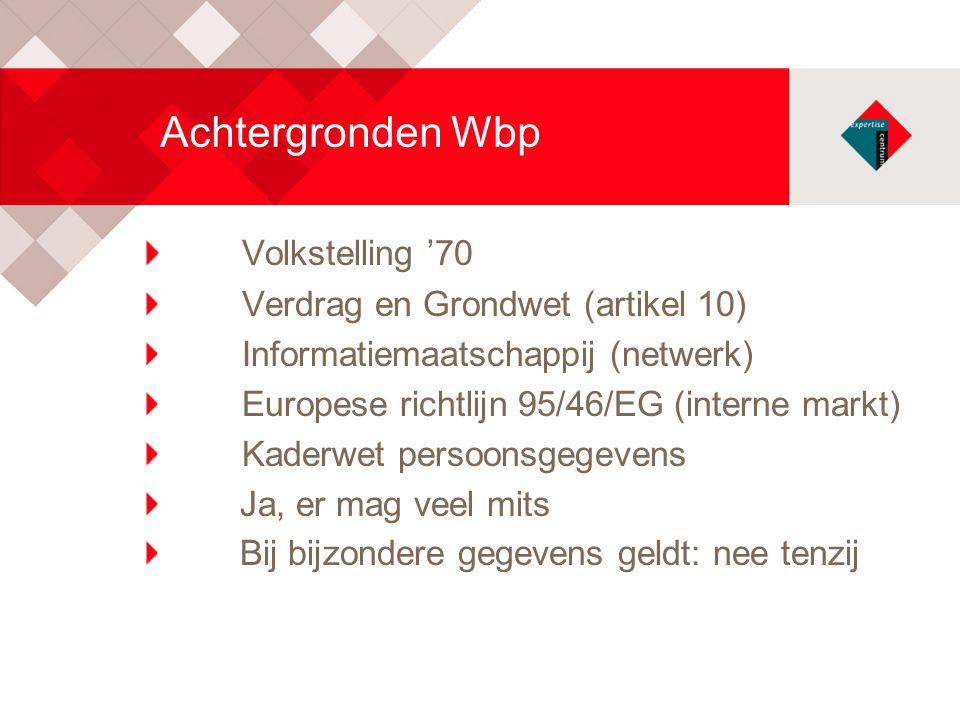 Achtergronden Wbp Volkstelling '70 Verdrag en Grondwet (artikel 10) Informatiemaatschappij (netwerk) Europese richtlijn 95/46/EG (interne markt) Kader