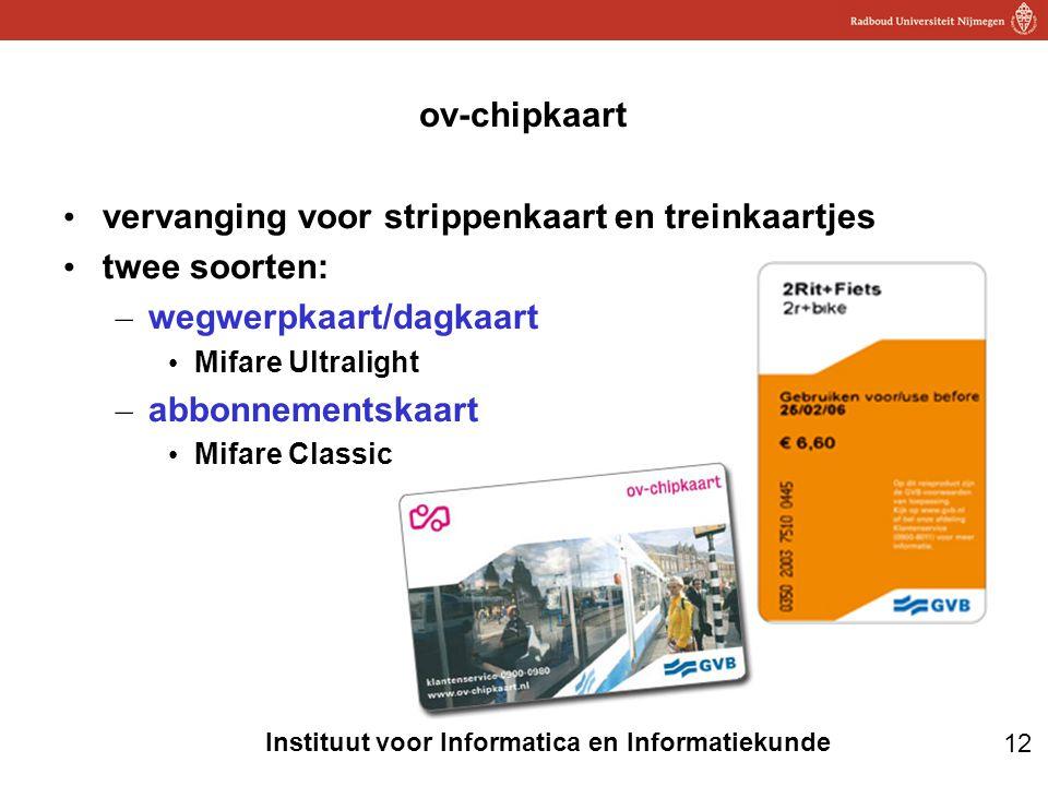 12 Instituut voor Informatica en Informatiekunde ov-chipkaart • vervanging voor strippenkaart en treinkaartjes • twee soorten: – wegwerpkaart/dagkaart